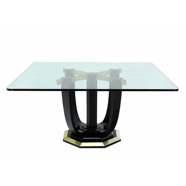 Distinguished Large Square GlassTop Black Lacquer Brass Base Dining - Glass conference table for sale