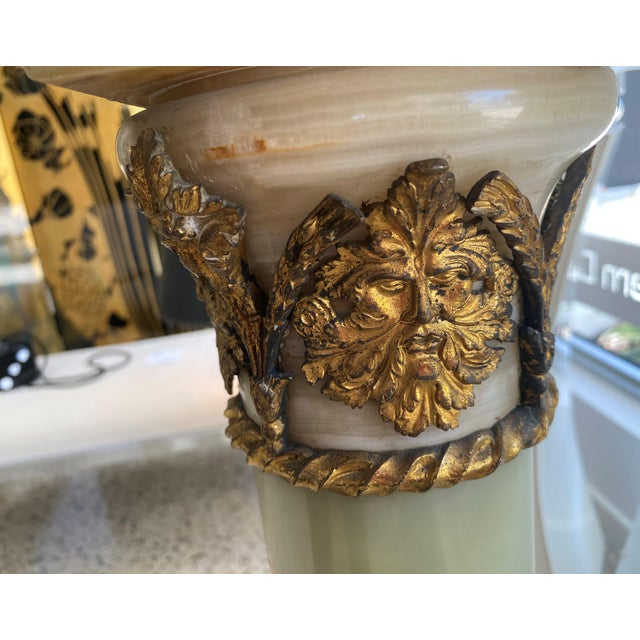Antique 1920s Neoclassic Revival Pedestal Onyx and Bronze Dore For Sale - Image 10 of 13