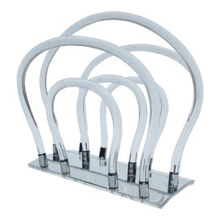 Dorothy Thorpe Sculptural Lucite Magazine Rack For Sale