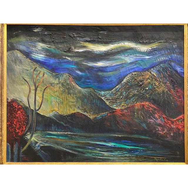Impressionist Large Vintage Oil on Canvas Signed Charles Melohs Nighttime Scene Painting Framed For Sale - Image 3 of 10