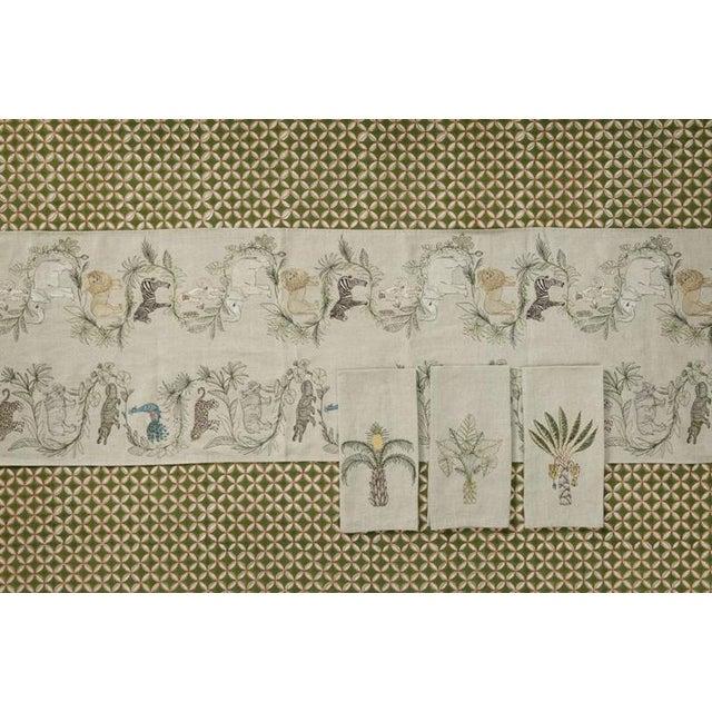 2010s 2010s French Ecru Linen Safari Table Runner For Sale - Image 5 of 8