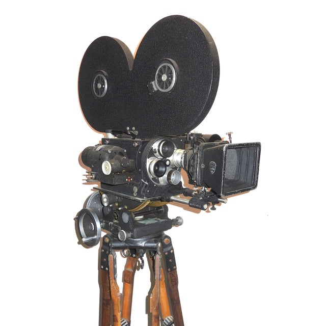 Art Deco Hollywood Mid Century Movie Camera With Geared Head and Vintage Wood Tripod Legs For Sale - Image 3 of 9