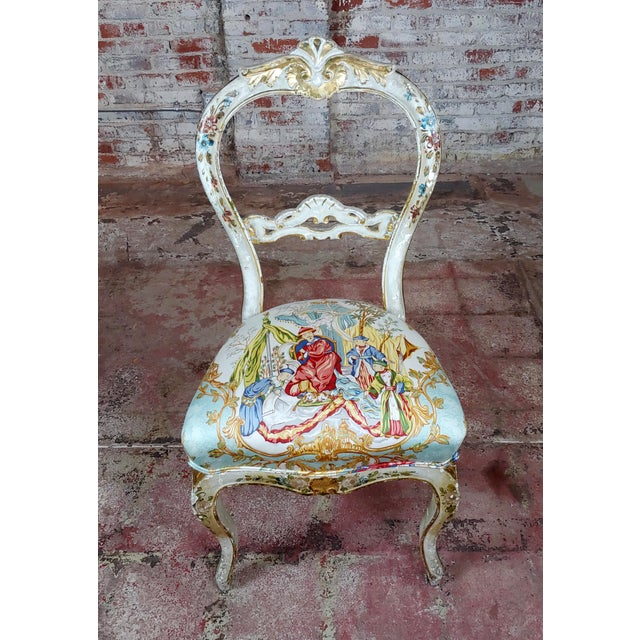 Italian 18th Century Venetian Painted and Upholstered Side Chair For Sale - Image 3 of 11