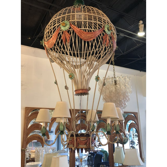 Vintage Italian Tole Metal Hot Air Balloon Chandelier For Sale - Image 4 of 13