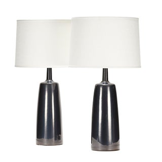 Tor Lamp in Anthracite Glaze With Ebonized Walnut - a Pair For Sale