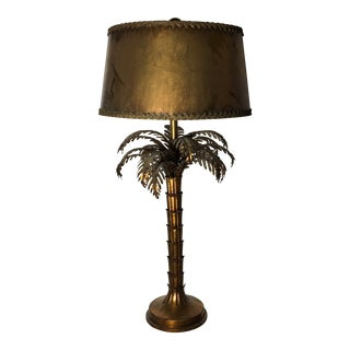 Large Italian Gold Guilded Palm Tree Table Lamp