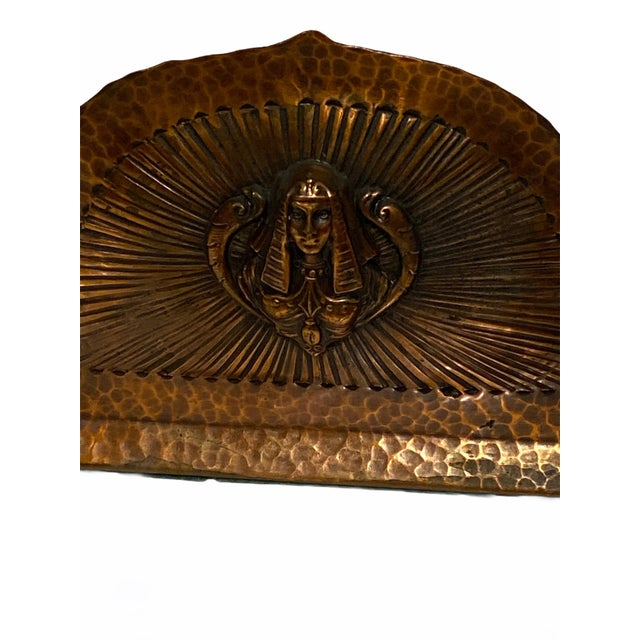 Art Deco Egyptian Revival Hand Hammered Copper Bookends - a Pair For Sale - Image 10 of 11