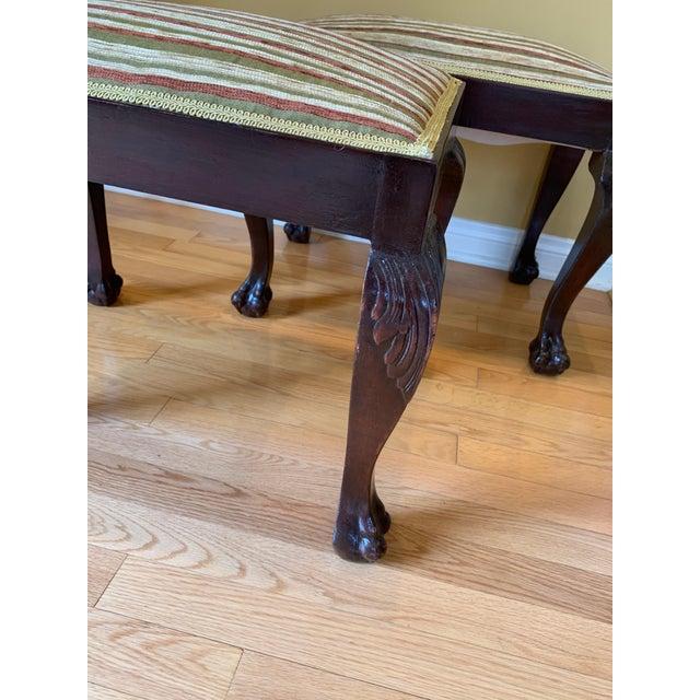 "Pair of George III style stools, lavishly upholstered. 22 1/2"" x 15 1/2"" height 16 1/2"""