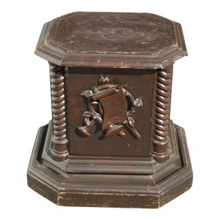 Vintage Mid Century Modern Rustic End Table Medieval Coat of Arms Side Table For Sale