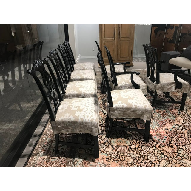 Set of 8 Century Furniture black lacquer vintage Gothic / Chippendale styled dining chairs. These have had seat covers...
