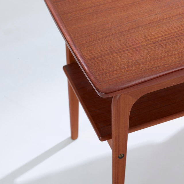 1960s 1960s Danish Modern Arne Hovmand Olsen Teak and Brass Side Tables - a Pair For Sale - Image 5 of 8