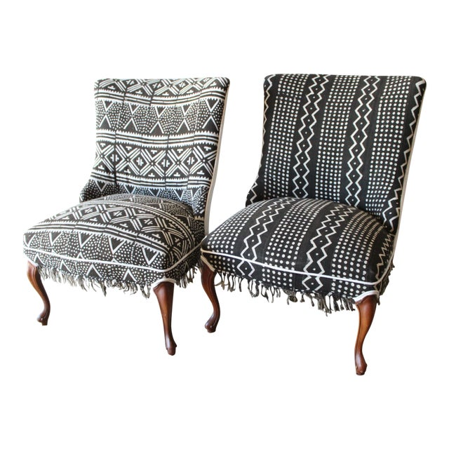 Vintage African Mudcloth Chairs - A Pair - Image 1 of 9