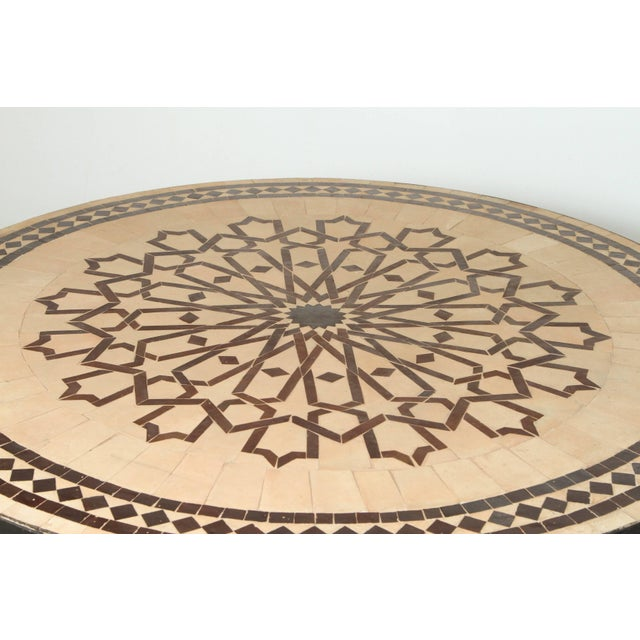Metal Moroccan Round Mosaic Outdoor Tile Table on Iron Base 47 In For Sale - Image 7 of 10