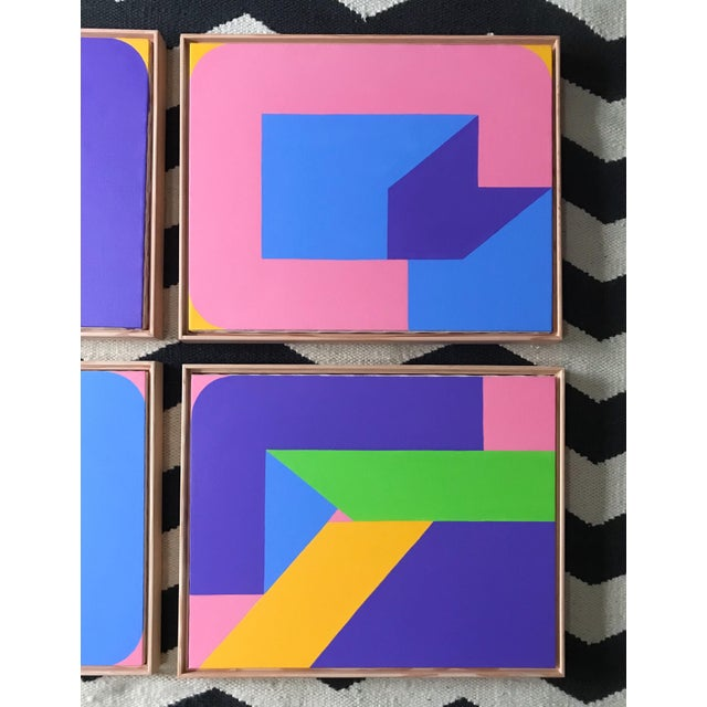Colorful Post Modern Hard Edge Abstract Set of Six Framed Original Paintings For Sale In Portland, OR - Image 6 of 9