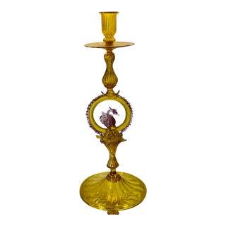 Superb Antique Venetian Art Glass Candlestick W Swan Center For Sale