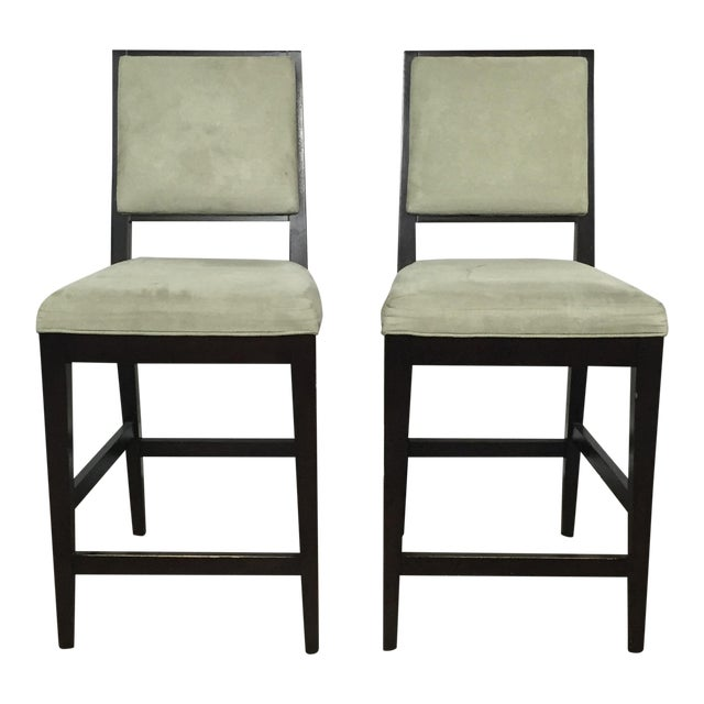 Crate & Barrel Upholstered Bar Stools - A Pair - Image 1 of 11