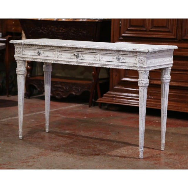 Late 19th Century 19th Century French Louis XVI Carved Painted Table Console For Sale - Image 5 of 13