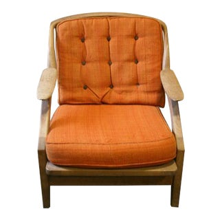 1960s Guillerme and Chambron French Oak Armchair