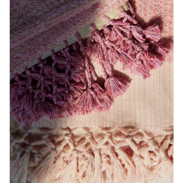 Textile Earth Lines Handmade Organic Cotton Towel in Pink For Sale - Image 7 of 8