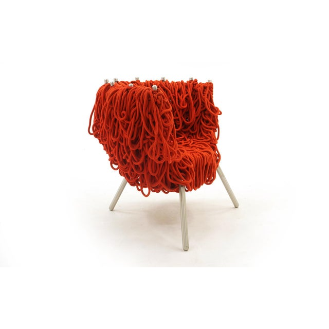 1990s Vermelha Chair by Fernando and Humberto Campana for Edra, Red Rope, Aluminum For Sale - Image 5 of 8