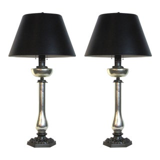 Pair of Mercury Glass Lamps For Sale
