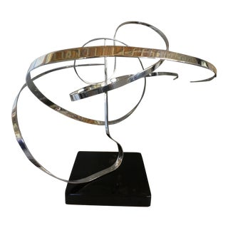 Michael Cutler Chromed Steel Kinetic Mobile Table Sculpture Signed For Sale