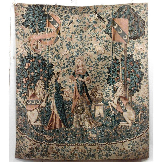 English Renaissance style vertical painted beige and blue cloth of lady figures with unicorn and lion (20th Cent).