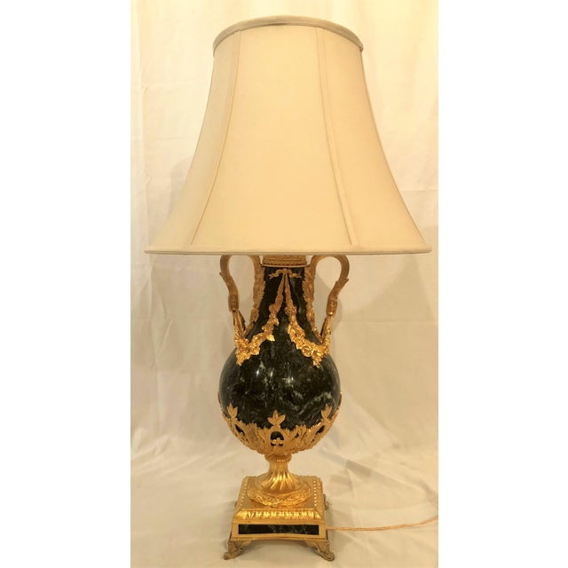 Traditional Antique French Bronze d'Ore Marble Lamp, Circa 1890. For Sale - Image 3 of 3