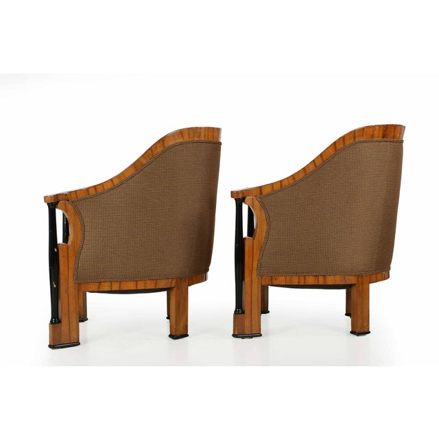 Fabric Pair of Ebonized Biedermeier Tub Arm Chairs, Circa 1825 For Sale - Image 7 of 10