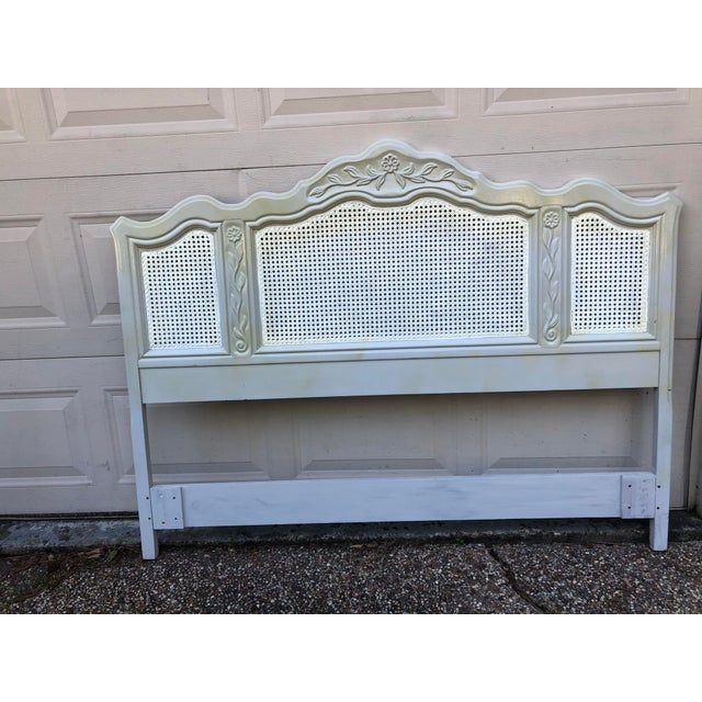 Nice painted vintage caned headboard by Drexel in good vintage contage. Can be used as Twin/Full or queen. It is painted...