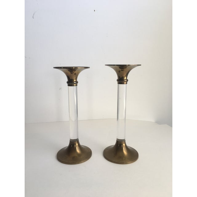 Gold Hollywood Regency Brass & Lucite Candle Holders - a Pair For Sale - Image 8 of 8