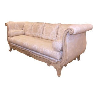 Marge Carson French Style Exposed Wood Rolled Arm Sofa For Sale