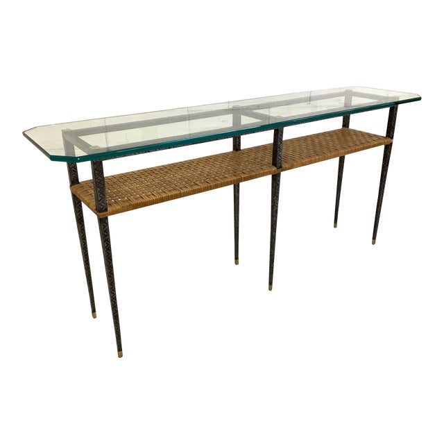 Steel and Rattan Console Table For Sale