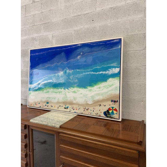 2010s Abstract Framed Oil Painting With Resin on Canvas by Franchy For Sale - Image 5 of 13