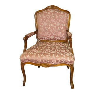 1970s Vintage French Style Floral Accent Chair For Sale