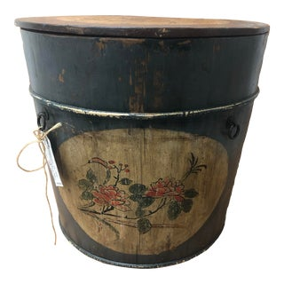 Vintage Rare Antique Country Floral Bucket Hand Painted For Sale