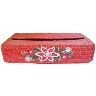 Orange Italian Straw Vanity Facial Tissue Caddy For Sale