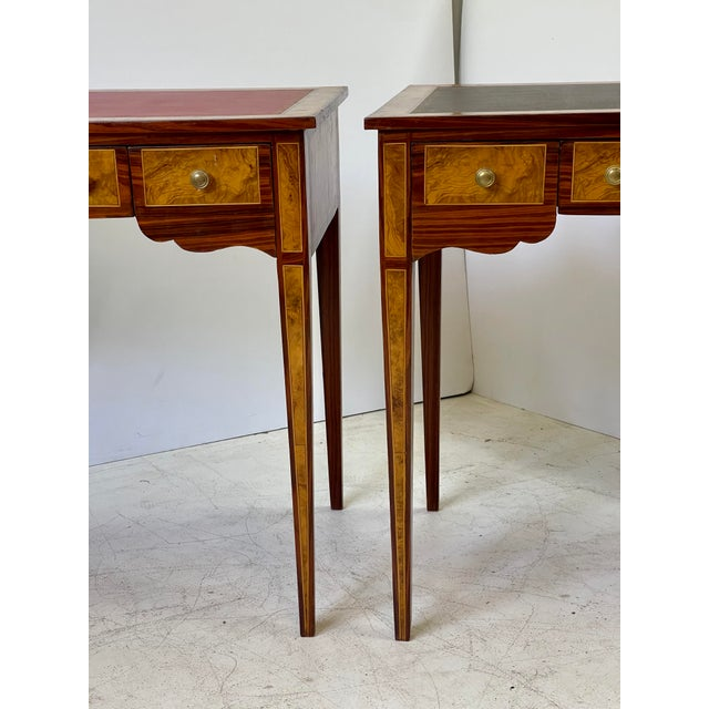 French Pair of Italian Burl Wood Writing Tables For Sale - Image 3 of 13