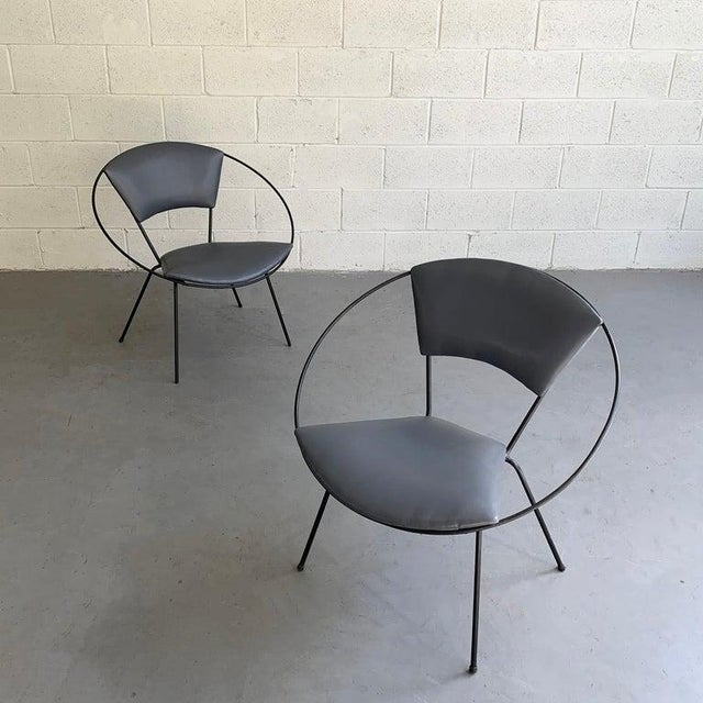 Mid-Century Modern Mid Century Modern Wrought Iron Upholstered Hoop Chairs- A Pair For Sale - Image 3 of 8