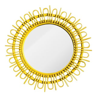 1970's Vintage Rosenthal Netter Style Round Yellow Sunburst or Starburst Rattan Bamboo Mirror For Sale