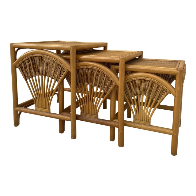 1970s Golden Palm Beach Bamboo and Rattan Nesting Tables - Set of 3 For Sale