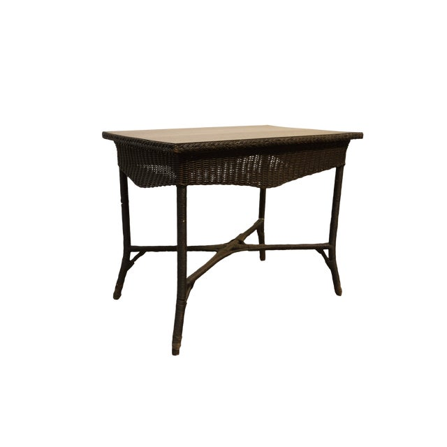20th Century Boho Chic Wicker Library Table For Sale