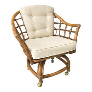 1970s Vintage Bamboo Swivel Chair For Sale