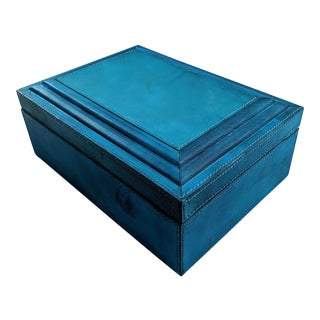 Turquoise Leather Wrapped Decorative Box For Sale