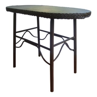 Old Painted Oval Stick Wicker and Wood Accent Table For Sale