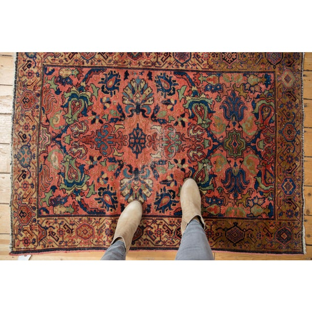 "Blue Vintage Fine Malayer Square Rug - 3'5"" X 4'6"" For Sale - Image 8 of 10"