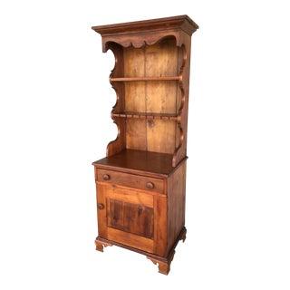 Antique Colonial Handmade 2 Piece Open Pine Hutch