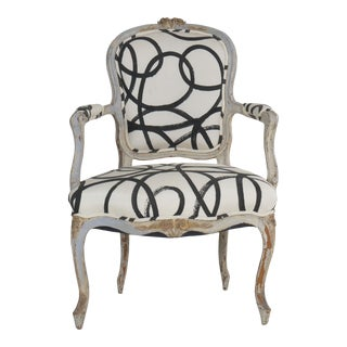 18th Century Louis XV Period French Antique Arm Chair W/ Modern Upholstery For Sale