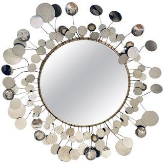 Mid-Century Modern Bamboo Form Frame Mirror Having Floating Orbit Spheres For Sale