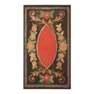 """Antique American Hooked Rug 2'2"""" X 4'0"""" For Sale"""